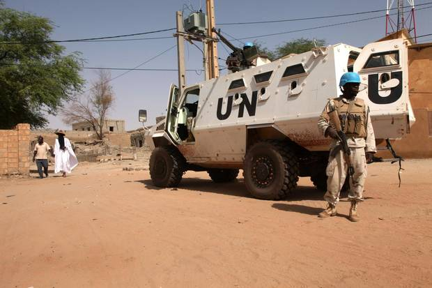 An armoured personnel carrier of The United Nations Multidimensional Integrated Stabilization Mission in Mali is parked in Timbuktu on September 19, 2016.