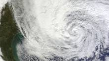 Hurricane Sandy is seen on the east coast of the United States in this NASA handout satellite image taken at 16:00 GMT on October 28, 2012. (NASA/Reuters)