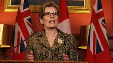 Ontario premier-designate Kathleen Wynne talks to the media after a meeting with Lieutenant-Governor David Onley at the Ontario Legislature in Toronto Jan. 31, 2013. (Fernando Morales/The Globe and Mail)