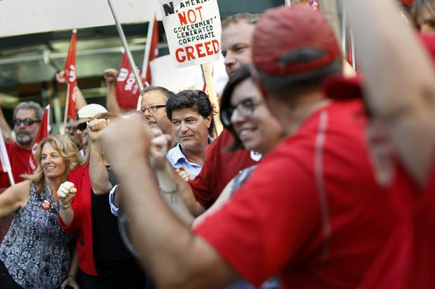 Jerry Dias takes part in a demonstration in downtown Ottawa.