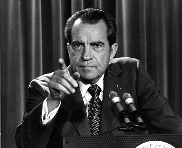 Richard Nixon speaks at a White House news conference in the midst of the Watergate investigation, in 1973.