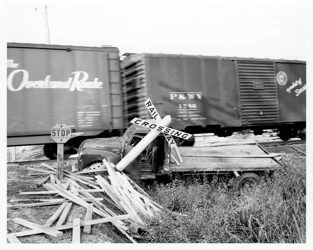 A 1955 photo of a collision from the archives of artist Geoffrey Farmer.