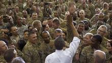 U.S. President Barack Obama greets U.S. soldiers at Bagram Air Base, north of Kabul, on Wednesday. (Doug Mills/NYT/Doug Mills/NYT)