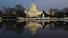 Dusk sets in over the U.S. Capitol building. (JONATHAN ERNST/JONATHAN ERNST/REUTERS)