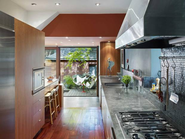 The slate countertops in the kitche