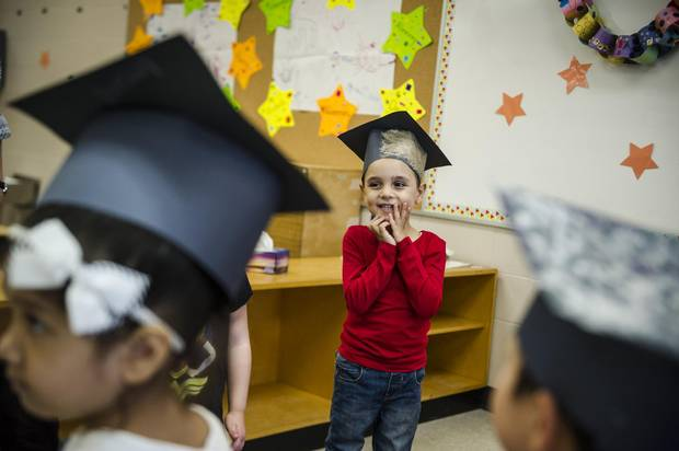 On Thursday, the 14 children at Bolton C. Falby school celebrated their graduation from the program.