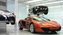 McLaren MP4-12C at the McLaren Technology Centre, with experimental prototypes. (McLaren)