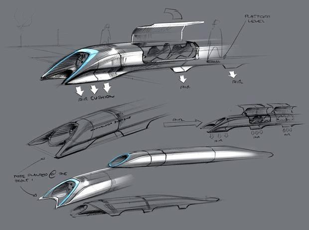 A design sketch released by Tesla Motors shows the Hyperloop passenger transport capsule.