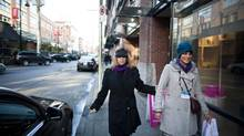 The Globe's Marsha Lederman is guided by Ana Elena Garza in downtown Vancouver (Rafal Gerszak for The Globe and Mail)