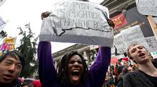 Seventeen-year-old Grade 12 student Jazz Groven-Gilchrist, centre, who attends Vancouver's Prince of Wales Secondary School, shouts during a rally after walking out of afternoon classes in support of their teachers. (Darryl Dyck/The Canadian Press/Darryl Dyck/The Canadian Press)