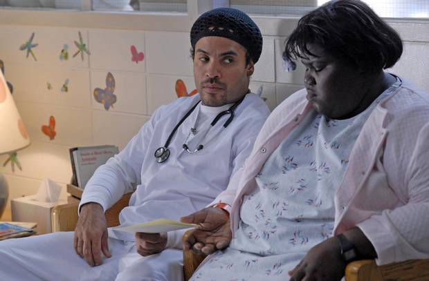 Lenny Kravitz and Gabourey Sidibe in Precious, which won two Oscars in 2010.