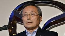 President of Japanese automaker Mazda Motor Takashi Yamanouchi annouces the company's business forecasts in Tokyo on June 17, 2011. (YOSHIKAZU TSUNO/AFP/Getty Images)