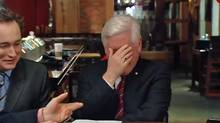Bob Rae cracks up while recording a scene on the CBC program This Hour has 22 Minutes.