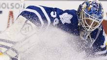 Toronto Maple Leafs goaltender Jonas Gustavsson makes a save against the Winnipeg Jets during first period NHL action in Toronto on Thursday January 5, 2012. THE CANADIAN PRESS/Frank Gunn (Frank Gunn)