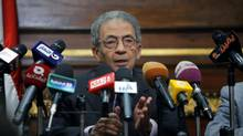 Amr Moussa, the chairman of Egypt's 50-member panel tasked with amending the Islamist-drafted constitution, speaks during a press conference at the upper house of parliament, the Shura Council, in Cairo, Nov. 12, 2013. (Amr Nabil/AP)