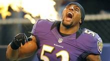 Baltimore Ravens linebacker Ray Lewis reacts as he is introduced before an NFL preseason football game against the Detroit Lions in Baltimore, Friday, Aug. 17, 2012. (Associated Press)