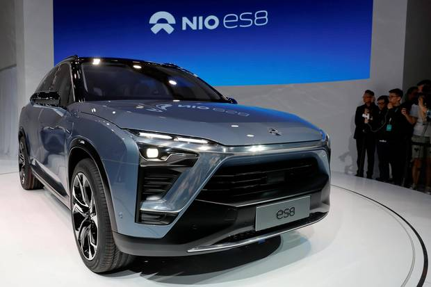 Chinese electric vehicle start-up Nio unveils its ES8 SUV.