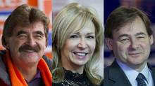 Wayne Gates of the NDP, Joyce Morocco of the Liberals and Bart Maves of the Conservatives are running in Feb. 13's provincial by-election in Niagara Falls. (PETER POWER/THE GLOBE AND MAIL)