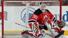 Martin Brodeur of the New Jersey Devils makes a save against the Florida Panthers at the Prudential Center on January 20, 2010 in Newark, New Jersey. (Jim McIsaac/2010 Getty Images)