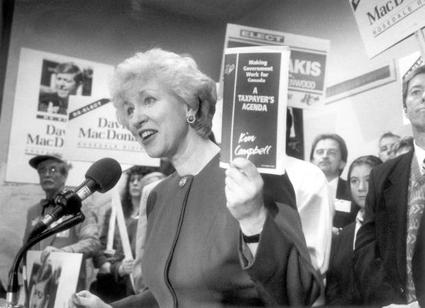 Progressive Conservative Party leader Kim Campbell campaigns in Toronto during a federal election swing through southern Ontario in the 1993 federal election.