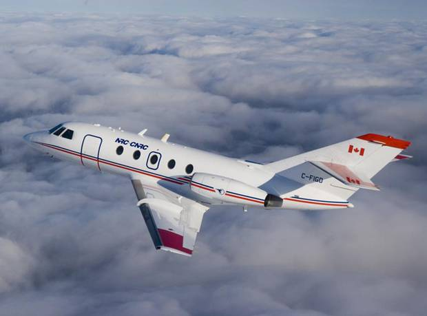 The Falcon 20 is the world's first civil jet powered entirely by biofuel. Research experts at the National Research Council will analyze this information to better understand the environmental impact of biofuel.