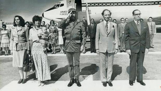 Margaret, Michel and Pierre Trudeau and Fidel Castro at Havana Airport 1976 visit to Cuba strained relations with Washington; Margaret Trudeau holds baby Michel Photo