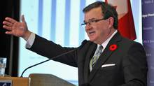 Finance Minister Jim Flaherty delivers his fall fiscal update to the Calgary Chamber of Commerce on Nov. 8, 2011. (TODD KOROL/Todd Korol/Reuters)