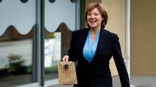 B.C. Christy Clark delivers coffee to the Port Moody-Coquitlam Liberal by-election campaign office on April 19, 2012. (DARRYL DYCK/Darryl Dyck for The Globe and Mail)