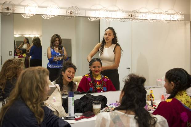 Pimienta, second from right, laughs with fellow performers Simone Schmidt, left, of The Highest Order, April Aliermo, centre, of Phedre, and friend and multidisciplinary artist Ruth Titus, right.