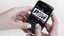 RIM logo on a BlackBerry (MARK BLINCH)