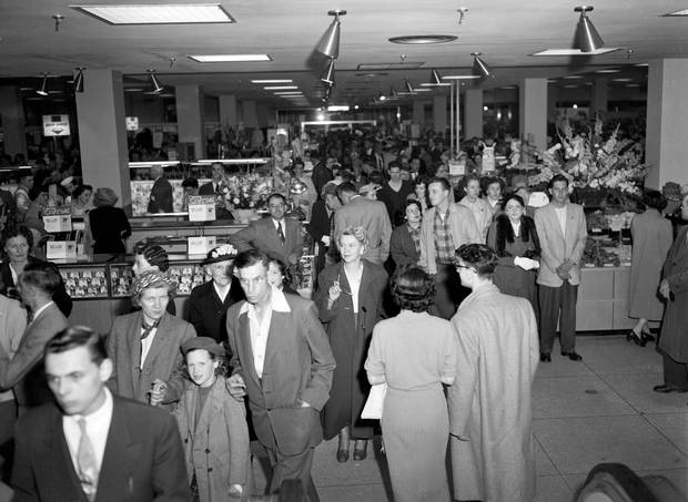 Opening day crowds at a Simpsons-Sears location in 1954.