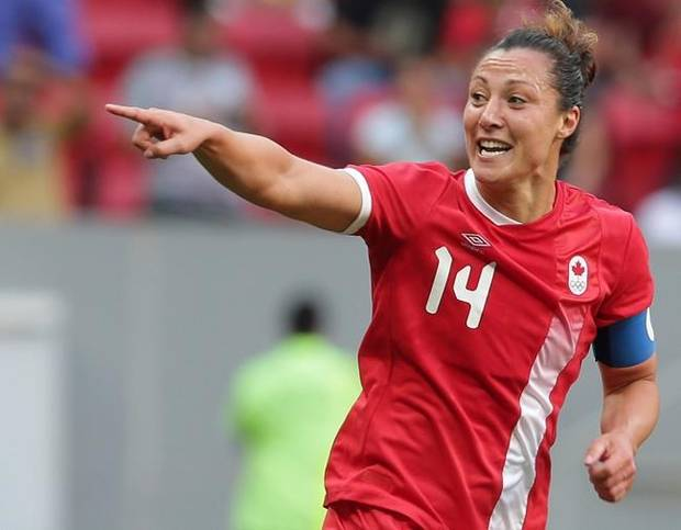 Canada's Melissa Tancredi celebrates after scoring during a Group F match of the women's Olympic football tournament between Germany and Canada at the National Stadium, in Brasilia, Brazil, Tuesday, Aug. 9, 2016. (AP Photo/Eraldo Peres)
