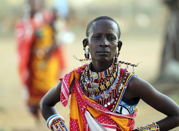 A Maasai woman is seen as people gather for a celebration in 2012, some 80 kilometres southwest of Nairobi.