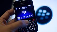 A BlackBerry handset is displayed in Washington on Dec. 15, 2011. (JONATHAN ERNST/Jonathan Ernst/Reuters)