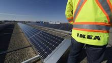 Solar panels installed on the roof the Ikea store in west end Toronto feeds power pack to the grid on Nov. 13 2013. (Fred Lum/The Globe and Mail)