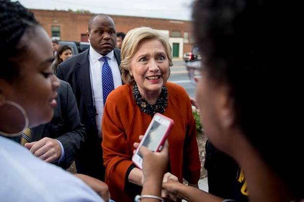 Hillary Clinton greets early voters at the Leonard J. Kaplan Center for Wellness at the University of North Carolina at Greensboro in Greensboro, N.C., on Oct. 27.