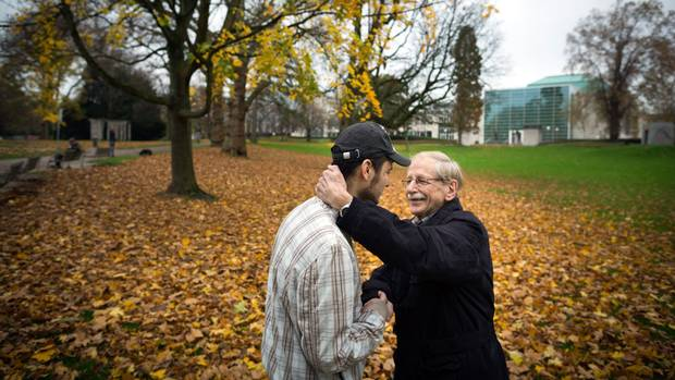 There is a sincere bond between German Max Saschowa, 75, and 22-year-old Khaled Allak. As refugees arrived in Mr. Saschowa's town of Loevenich, there was never a question in his mind that he would help. Mr. Saschowa befriended the young Syrian as a way of paying back the generosity he received as a child when he was a refugee in post-war Europe.