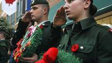 Army cadets during a Remembrance Day ceremony. (Jason Franson/The Canadian Press)