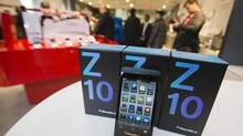 A Blackberry Z10 device is displayed at a Rogers store in Toronto February 5, 2013. Tuesday marks the first day the Blackberry Z10 with the BB10 operating system goes on sale to the public in North America. (MARK BLINCH/REUTERS)