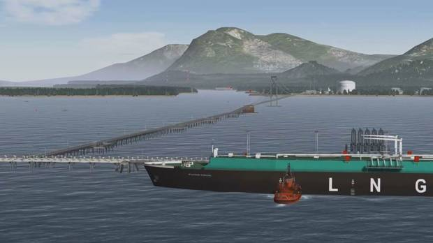 An artistic rendering of Pacific NorthWest LNGs proposal for a liquefied natural gas dock, suspension bridge and export terminal on Lelu Island, near Prince Rupert, B.C.
