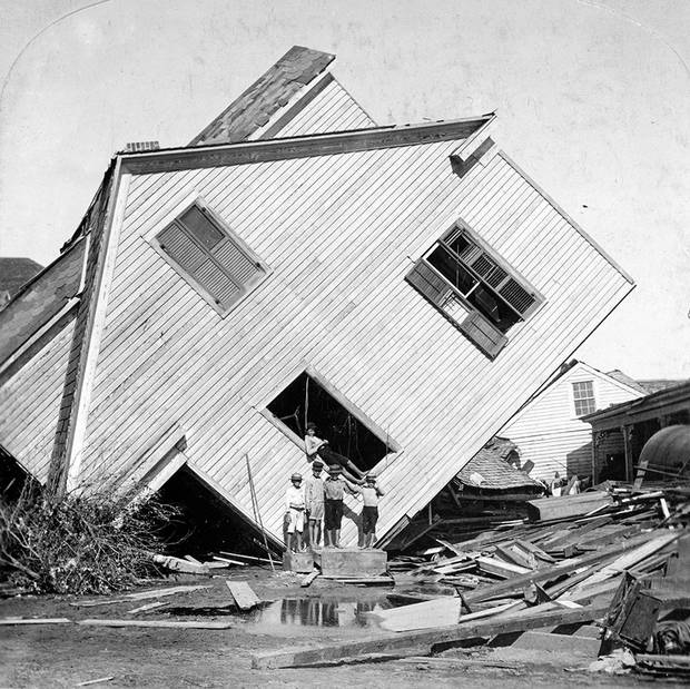 A House moved with during the aftermath of the Galveston flood on October 15, 1900.