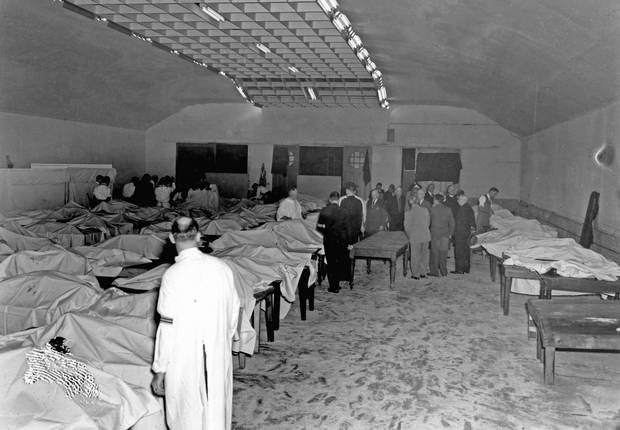 Morgue set up in the Horticultural Building for victims of SS Noronic fire.