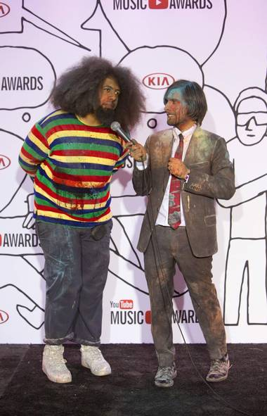 Are you in with the 'in' crowd? If so, you were probably at the inaugural YouTube Music Awards. The event was hosted by comedian Reggie Watts and actor Jason Schwartzman, who established the casual tone by wearing the same clothes they wore to play paintball earlier in the day. You crazy hipsters! (ANDREW KELLY/REUTERS)