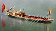 Undated handout photo issued on Wednesday Jan. 18, 2012, by the Thames Diamond Jubilee Pageant showing an artists impression of Gloriana, the Royal Rowbarge, which will be taking part in the Thames Diamond Jubilee pageant along the river Thames on June 3, 2012. (AP/Thames Diamond Jubilee Pageant/AP/Thames Diamond Jubilee Pageant)