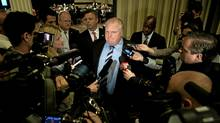 "Mayor Rob Ford speaks to the media following the Toronto Real Estate Board's ""Civic Working Together \ Gathering For Giving"" Luncheon at the Sheraton Toronto in Toronto, June 1, 2012 (Kevin Van Paassen/The Globe and Mail)"