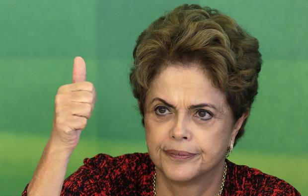 Brazil's President Dilma Rousseff gestures during a meeting with social movements at Planalto Palace in Brasilia on Dec. 17, 2015.