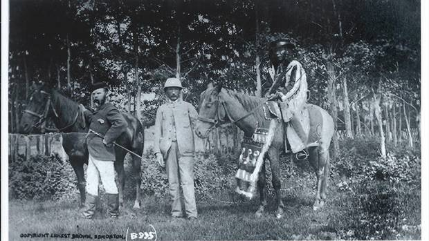 Chief Ermineskin, right, is seen atop a horse in 1885, the same year the Alberta First Nation that shares his name – Ermineskin Tribe – was founded.