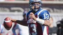 Montreal Alouettes' quarterback Anthony Calvillo throws the ball during first half CFL action against the Saskatchewan Roughriders in Montreal, Sunday, September 16, 2012. (Graham Hughes/THE CANADIAN PRESS)