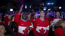 Fans gathered in Toronto on Feb. 21, 2014 at Real Sports in Toronto to watch Canada defeat the US 1-0 in Olympic men's hockey to advance to the gold medal game against Sweden. (Peter Power/Peter Power)