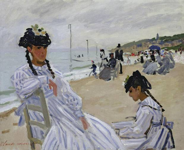 On the Beach at Trouville, 1870-71 (oil on canvas) by Claude Monet